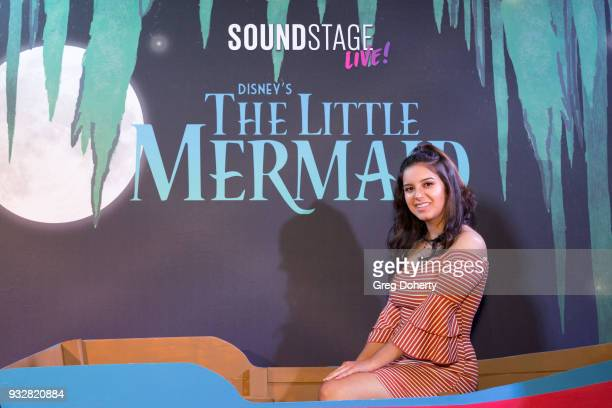 Actress Amber Romero attends the New Interactive Live Stage Show Of Disney's 'The Little Mermaid' at the El Segundo Performing Arts Center on March...