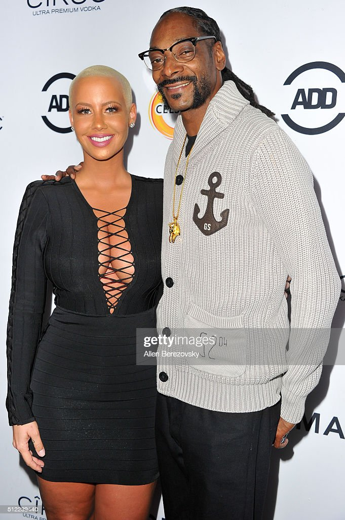Actress Amber Rose and Snoop Dogg attend the All Def Movie Awards at Lure Nightclub on February 24, 2016 in Los Angeles, California.