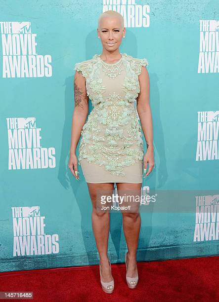 Actress Amber Rose arrives at the 2012 MTV Movie Awards at Gibson Amphitheatre on June 3, 2012 in Universal City, California.