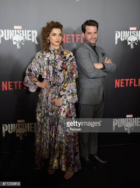 Actress Amber Rose Revah and actor Michael Nathanson attend the 'Marvel's The Punisher' New York Premiere on November 6 2017 in New York City