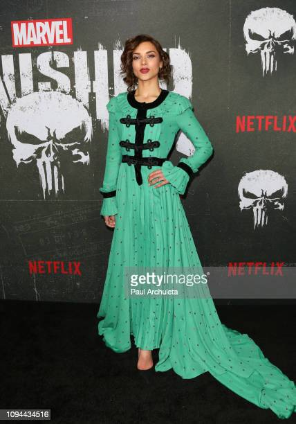 Actress Amber Rose Revah attends Marvel's The Punisher Los Angeles premiere at the ArcLight Hollywood on January 14 2019 in Hollywood California