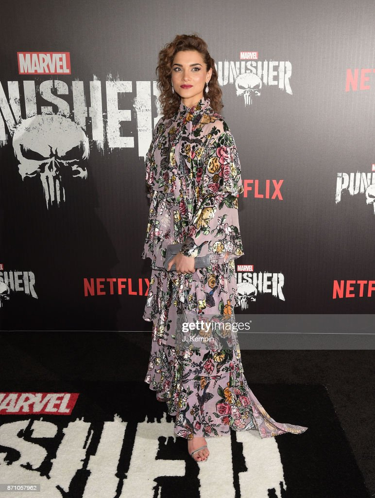 Actress Amber Rose Revah attends the 'Marvel's The Punisher' New York Premiere on November 6, 2017 in New York City.