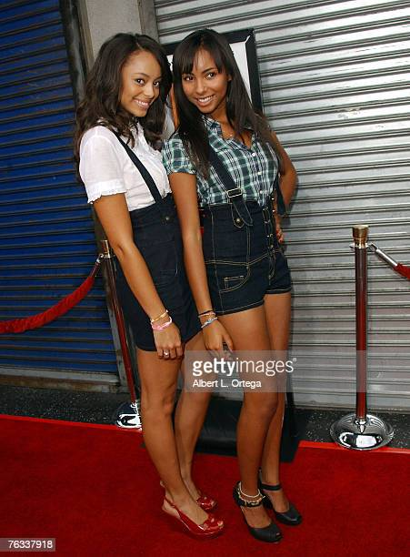 Actress Amber Stevens and actress Chyna Stevens attends the Los Angeles premiere of Rogue Pictures' Balls Of Fury at The Egyptian Theater on August...