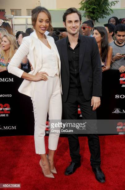 Actress Amber Stevens and Andrew J West arrive at the Los Angeles premiere of '22 Jump Street' at Regency Village Theatre on June 10 2014 in Westwood...
