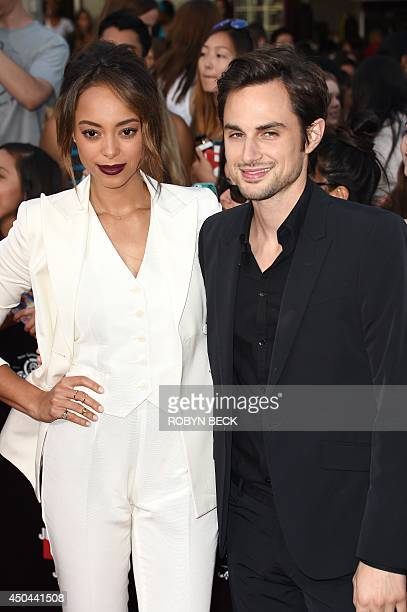 Actress Amber Stevens and Andrew J West arrive for the world premiere of 22 Jump Street at the Regency Village Theatre in Los Angeles California June...
