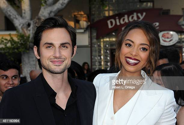 Actress Amber Stevens and Andrew J West arrives for the Premiere Of Columbia Pictures' 22 Jump Street held at Regency Village Theatre on June 10 2014...