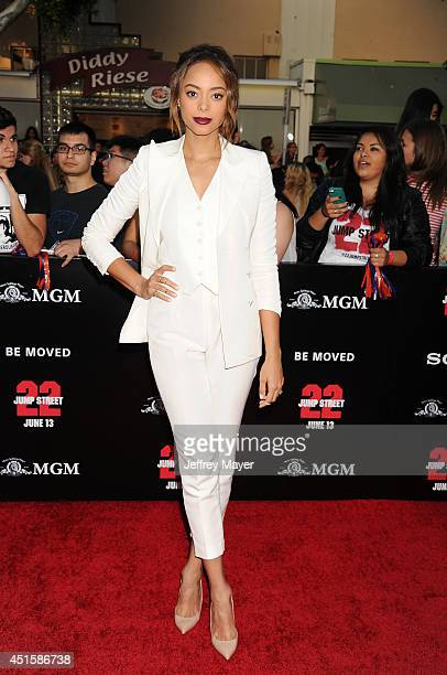 Actress Amber Stevens arrives at the Los Angeles premiere of '22 Jump Street' at Regency Village Theatre on June 10 2014 in Westwood California