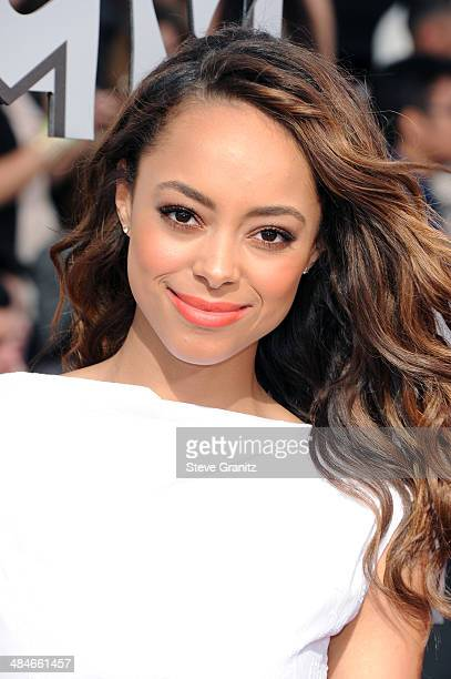 Actress Amber Stevens attends the 2014 MTV Movie Awards at Nokia Theatre LA Live on April 13 2014 in Los Angeles California
