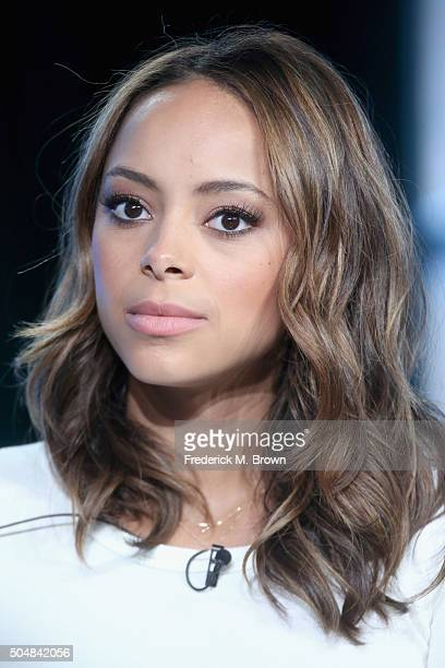 Actress Amber Stevens West speaks onstage during 'The Carmichael Show' panel discussion at the NBCUniversal portion of the 2015 Winter TCA Tour at...