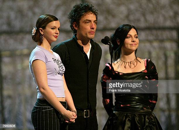 Actress Amber Tamblyn singer Jakob Dylan and Evanescence's singer Amy Lee present Best Male Pop Vocal Performance during the 46th Annual Grammy...