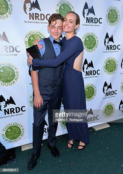 Actress Amber Valletta and Auden McCaw attend NDRC Food For Thought Benefit celebrating safe and sustainable eating on May 29 2014 in Santa Monica...