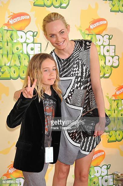 Actress Amber Valletta and son Auden McCaw arrive at Nickelodeon's 22nd Annual Kids' Choice Awards held at UCLA's Pauley Pavilion in Westwood