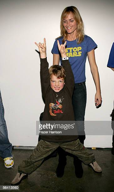 Actress Amber Valletta and son Auden McCaw attend Playstation BANDtogether a benefit presented by Sony Computer Enterainment America and the Bruce...