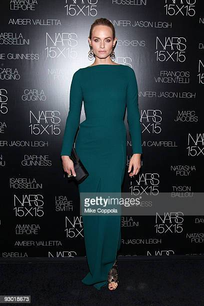Actress Amber Valletta attends the launch of NARS 15X15 a project to celebrate 15 years of NARS at Industria Superstudio on November 12 2009 in New...