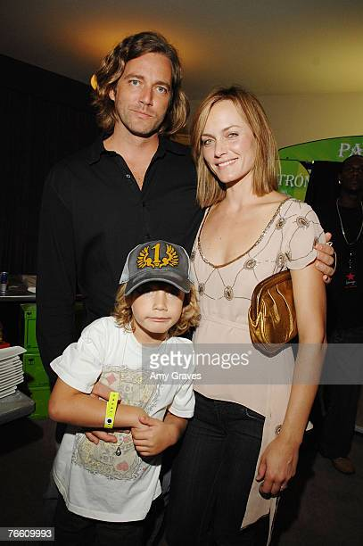 Actress Amber Valletta Christian McCaw and son Auden attend the Star Lounge In Honor of Rolling Stone's 40th Anniversary at the Hard Rock Hotel and...
