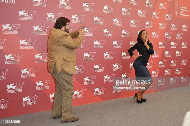 Actress Ambra Angiolini and Giuseppe Battiston attend the 'Notizie Degli Scavi' photocall at the Palazzo del Casino during the 67th Venice...
