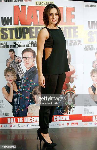 Actress Ambra Angiolini attends 'Un Natale Stupefacente' photocall at Cinema Savoy on December 17 2014 in Rome Italy