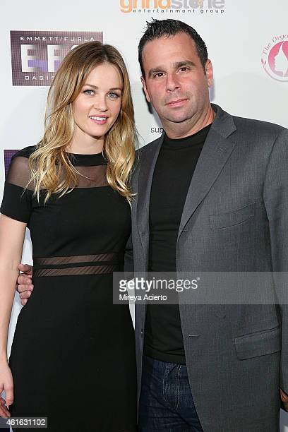 Actress Ambyr Childers and producer Randall Emmett attend Vice Los Angeles Premiere after party on January 15 2015 in Los Angeles California
