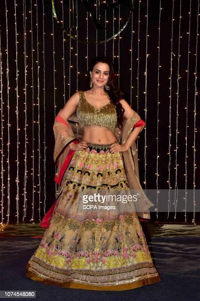 Actress Ameesha Patel seen at PriyankaNicks wedding reception at hotel Taj Lands End in Mumbai The newlymarried couple Priyanka Chopra and Nick Jonas...