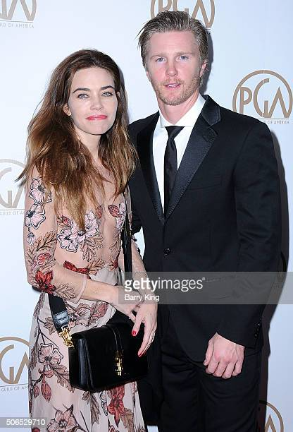 Actress Amelia Heinle anc actor Thad Luckinbill attend the 27th Annual Producers Guild Of America Awards at the Hyatt Regency Century Plaza on...
