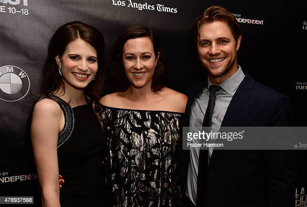 Actress Amelia Rose Blaire director Maggie Kiley and actor Sam Page attend the 'Caught' screening during the 2015 Los Angeles Film Festival at Regal...