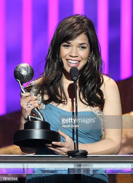 Actress America Ferrera accepts the Outstanding Actress in a Comedy Series award for Ugly Betty onstage during the 39th NAACP Image Awards held at...