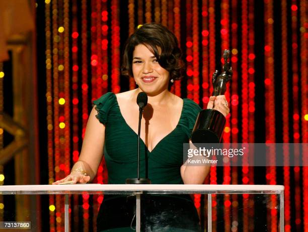 Actress America Ferrera accepts the Outstanding Female Actor in a Comedy Series for Ugly Betty onstage at the 13th Annual Screen Actor Guild Awards...
