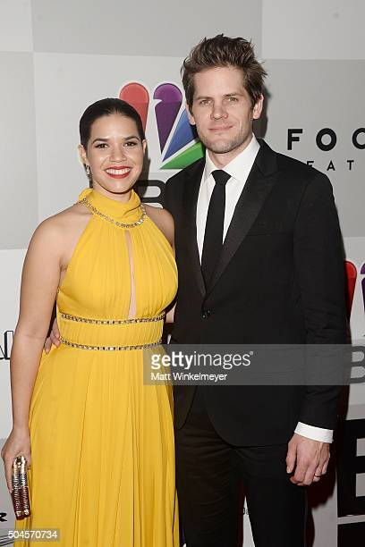 Actress America Ferrera and actor Ryan Piers Williams arrive at the NBCUniversal's 73rd Annual Golden Globes After Party at The Beverly Hilton Hotel...