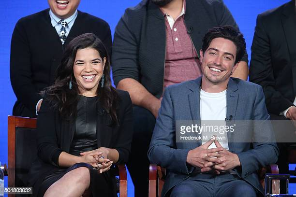 Actress America Ferrera and Ben Feldman speak onstage during the 'Superstore' panel discussion at the NBCUniversal portion of the 2015 Winter TCA...