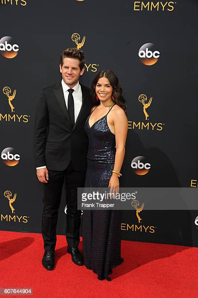 Actress America Ferrera and husband Ryan Piers Williamson attend the 68th Annual Primetime Emmy Awards at Microsoft Theater on September 18 2016 in...