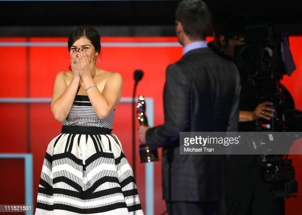 Actress America Ferrera and TV personality Ryan Seacrest onstage during the 2008 ALMA Awards at the Pasadena Civic Auditorium on August 17 2008 in...
