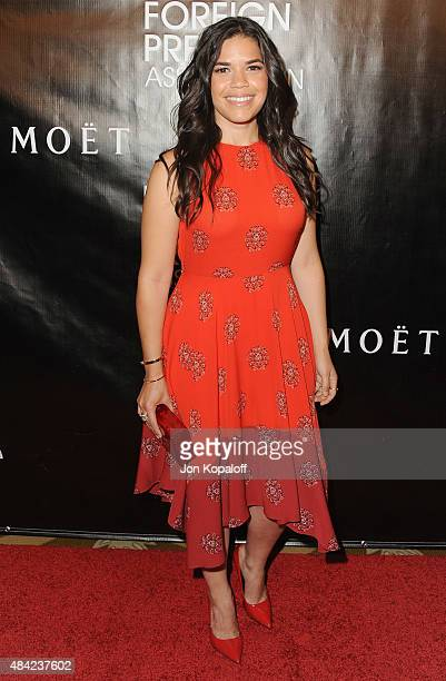 Actress America Ferrera arrives at Hollywood Foreign Press Association Hosts Annual Grants Banquet at the Beverly Wilshire Four Seasons Hotel on...