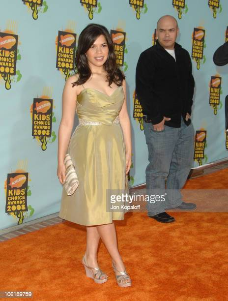 Actress America Ferrera arrives at Nickelodeon's 2008 Kids' Choice Awards at the Pauley Pavilion on March 29 2008 in Los Angeles California