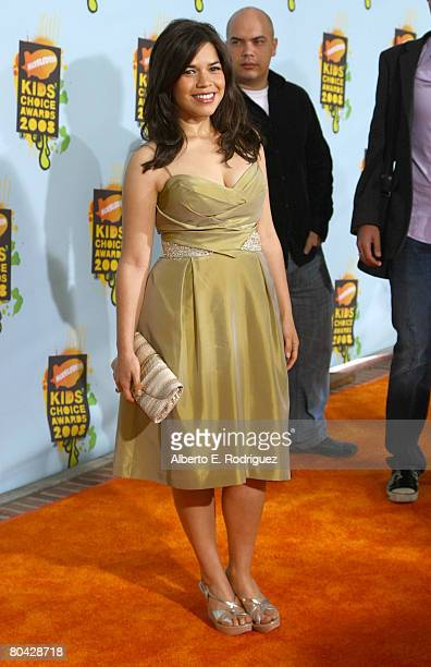 Actress America Ferrera arrives at Nickelodeon's 2008 Kids' Choice Awards held at UCLA's Pauley Pavilion on March 29 2008 in Westwood California