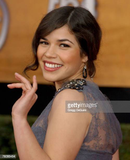 Actress America Ferrera arrives at the 14th Annual Screen Actors Guild Awards at the Shrine Auditorium on January 27, 2008 in Los Angeles, California.