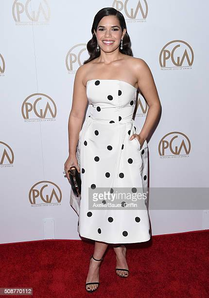 Actress America Ferrera arrives at the 27th Annual Producers Guild Awards at the Hyatt Regency Century Plaza on January 23 2016 in Century City...
