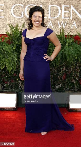 Actress America Ferrera arrives at the 64th Annual Golden Globe Awards at the Beverly Hilton on January 15, 2007 in Beverly Hills, California.