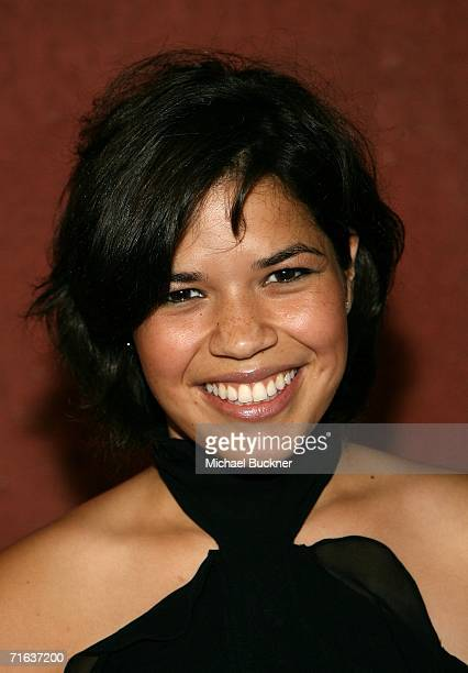 Actress America Ferrera arrives at the AIDS Healthcare Foundation Hot In Hollywood Party at the Henry Fonda Theatre on August 12 2006 in Los Angeles...
