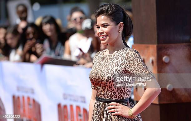 Actress America Ferrera arrives at the LA premiere of 'How To Train Your Dragon 2' at the Regency Village Theatre on June 8 2014 in Westwood...