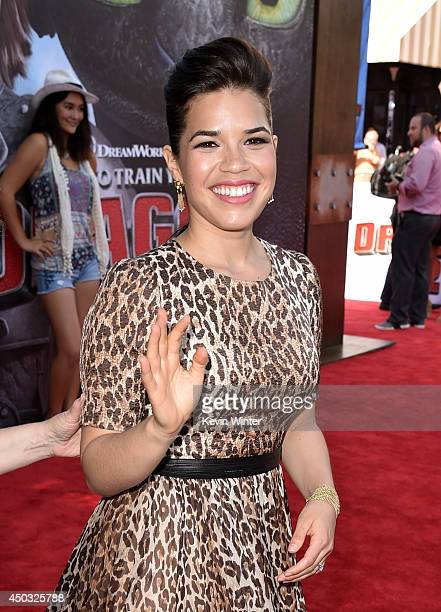 Actress America Ferrera arrives at the premiere of Twentieth Century Fox and DreamWorks Animation 'How To Train Your Dragon 2' at the Village Theatre...