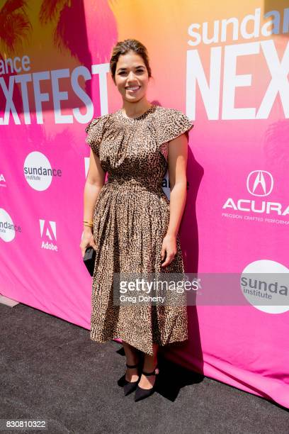Actress America Ferrera arrives for the 2017 Sundance NEXT FEST at The Theater at The Ace Hotel on August 12 2017 in Los Angeles California