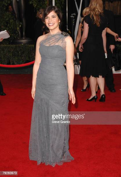 Actress America Ferrera arrives to the 14th Annual Screen Actors Guild Awards at the Shrine Auditorium on January 27, 2008 in Los Angeles, California.