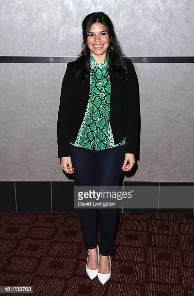 Actress America Ferrera attends a screening of Pantelion Films and Participant Media's 'Cesar Chavez' at ArcLight Cinemas on March 28 2014 in...