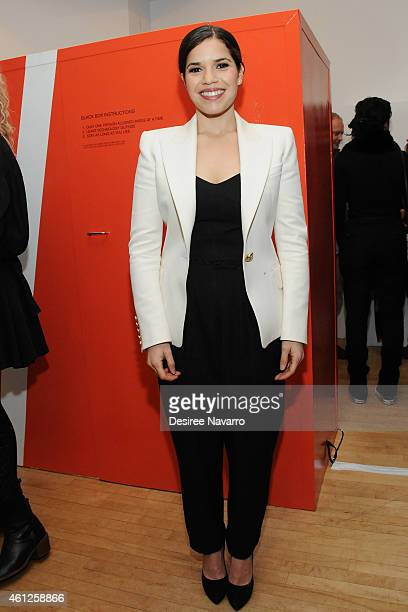 Actress America Ferrera attends Ryan Piers Williams' 'Monsters And Landscapes' Exhibition Opening Reception at The Garfield Building on January 9...