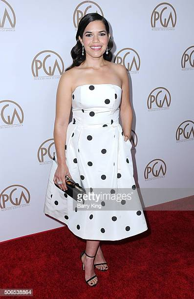 Actress America Ferrera attends the 27th Annual Producers Guild Of America Awards at the Hyatt Regency Century Plaza on January 23 2016 in Century...