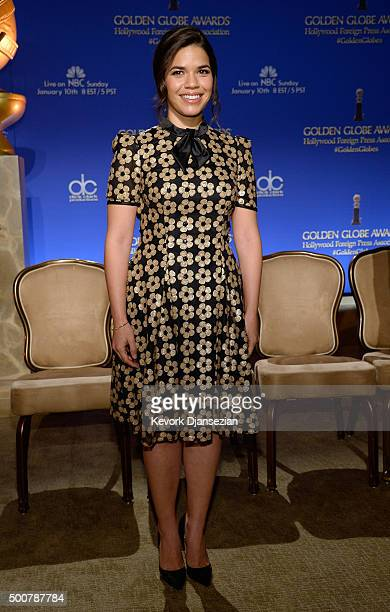 Actress America Ferrera attends the 73rd Annual Golden Globe Awards Nominations Announcement at The Beverly Hilton Hotel on December 10 2015 in...