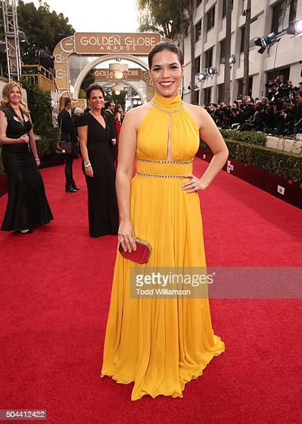 Actress America Ferrera attends the 73rd Annual Golden Globe Awards at The Beverly Hilton Hotel on January 10 2016 in Beverly Hills California