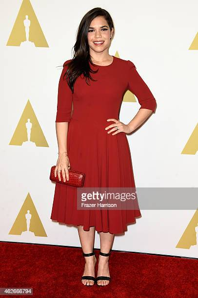 Actress America Ferrera attends the 87th Annual Academy Awards Nominee Luncheon at The Beverly Hilton Hotel on February 2, 2015 in Beverly Hills,...