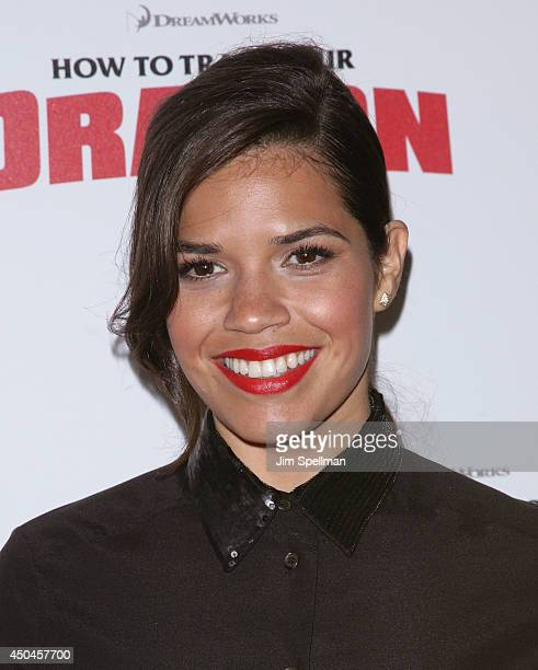 Actress America Ferrera attends the DreamWorks Animation 20th Century Fox screening of 'How To Train Your Dragon 2' at Crosby Street Hotel on June 11...
