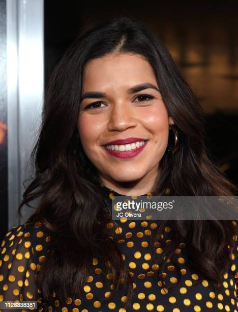 Actress America Ferrera attends the premiere of Columbia Pictures' 'Miss Bala' at Regal LA Live Stadium 14 on January 30 2019 in Los Angeles...
